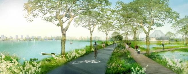 Una de las zonas verdes de Taiyuan, en China.