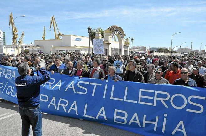 Manifestaión convocada por los trabajadores de Astilleros