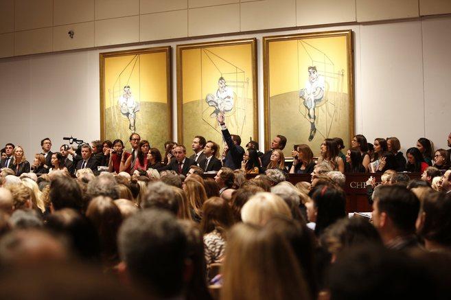 La sala repleta de Christie's de Nueva York este miércoles,...