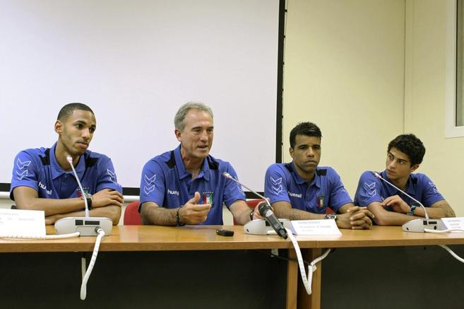 Randy, Goikoetxea, Bodipo e Igor Engonga durante la rueda de prensa...