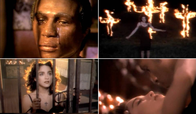 Cuatro capturas del vídeo de 'Like a prayer'.