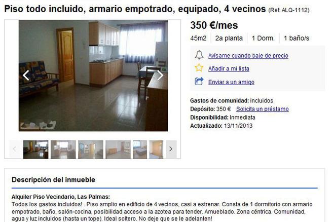 Uno de los numerosos anuncios que hay en internet que ofertan pisos...