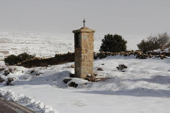 Nieve en Castellfort el pasado fin de semana.