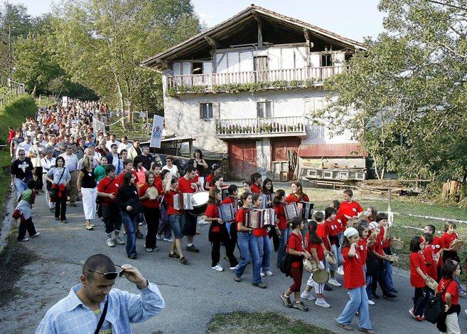 Celebración en Vera de Bidasoa (Navarra) del Nafarroa Oinez, la...