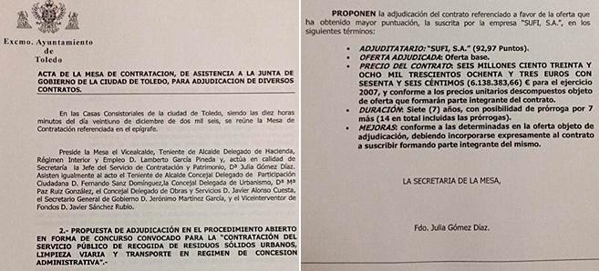 Páginas 1 y 3 del acta de la Mesa de Contratación del Ayuntamiento...