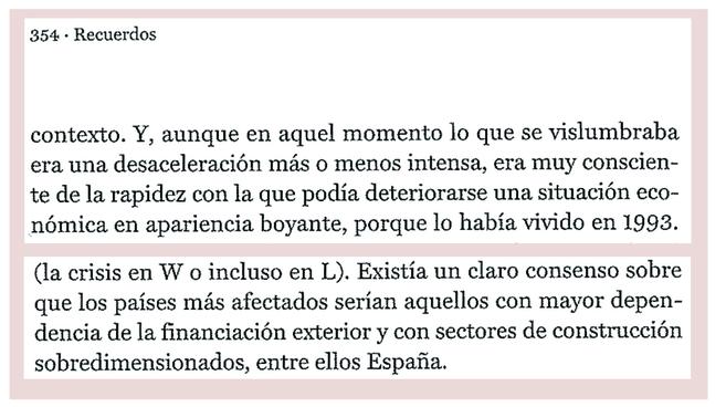 Extracto de dos confesiones de Pedro Solbes en la página 354 de si...