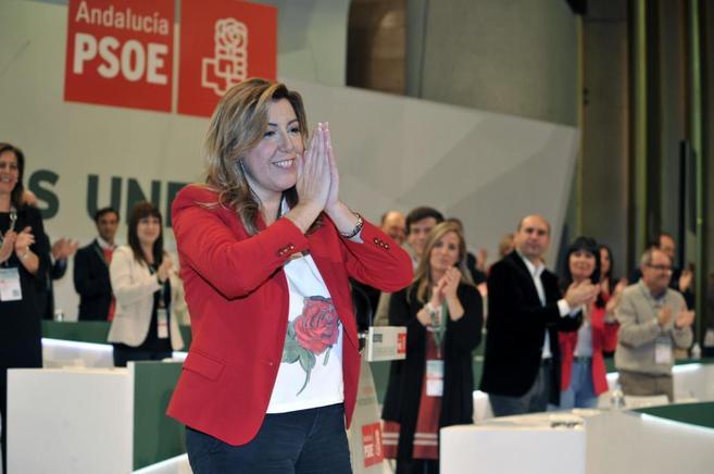 Susana Díaz  saluda en el cierre del Congreso donde ha salido elegida...
