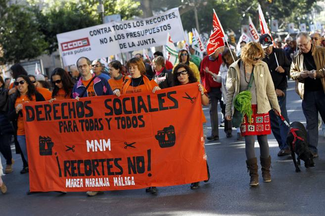 Manifestación contra los recortes en Málaga.
