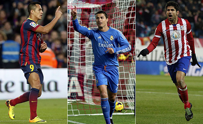 De izda a dcha: Alexis, Cristiano Ronaldo y Diego Costa, máximos...