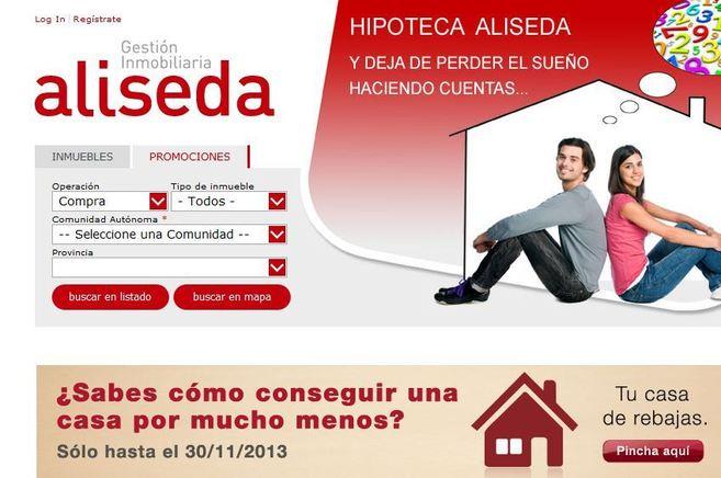 Página web de la filial inmobiliaria de Banco Popular, Aliseda.