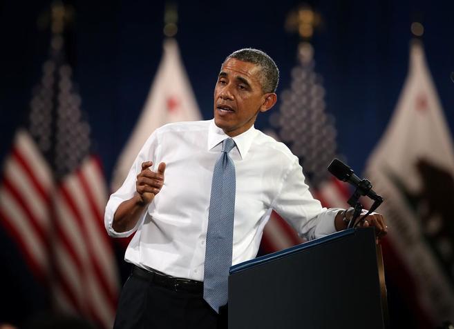 El presidente de EEUU, Barack Obama, durante un discurso, ayer, en San...