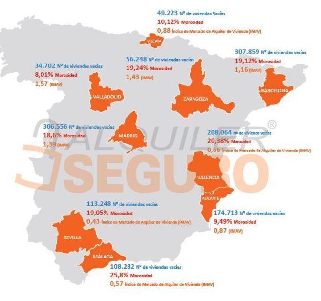 Mapa de la radiografía del mercado del arrendamiento realizada por...
