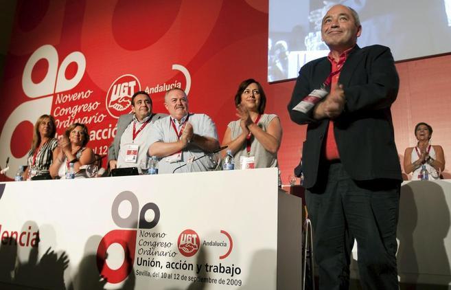 El entonces secretario general de UGT en Andalucía, Manuel Pastrana,...