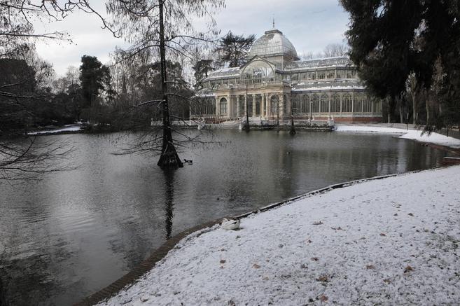 Nieve en el parque de El Retiro hace tres años.