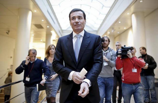 El secretario general del PSM, Tomás Gómez, hoy en los pasillos del...