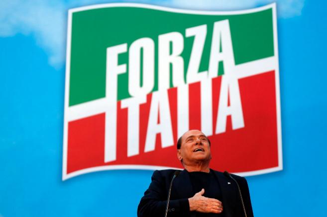 El ex primer ministro italiano Silvio Berlusconi, en un mitin en Roma.