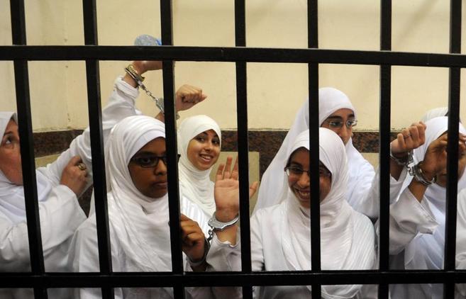 Varias mujeres de la cofradía musulmana, durante su juicio, en...