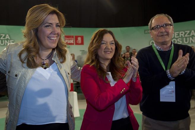 Susana Díaz y Verónica Pérez, este sábado, durante el congreso de...