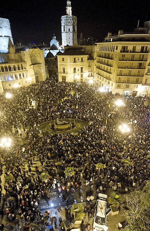 Manifestación contra el cierre de RTVV, este sábado en Valencia.