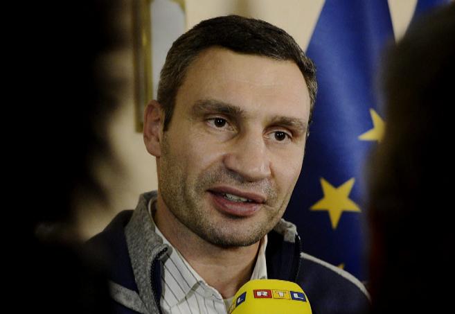 El líder del partido opositor ucraniano Udar, Vitali Klitschko, en...