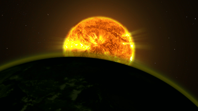 Recreación artística de un planeta extrasolar orbitando su estrella.