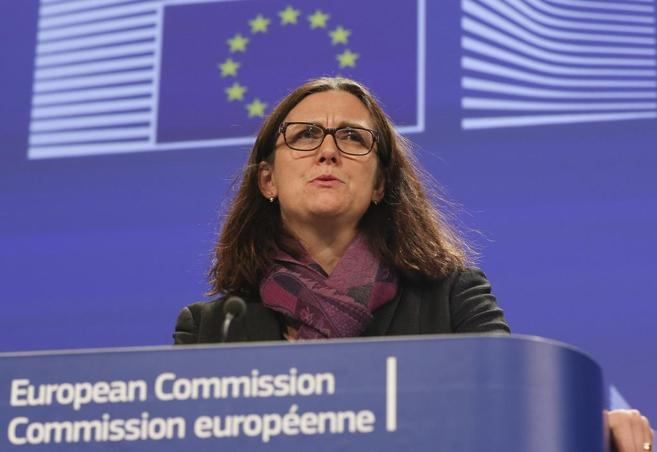 Cecilia Malmström, durante la rueda de prensa.
