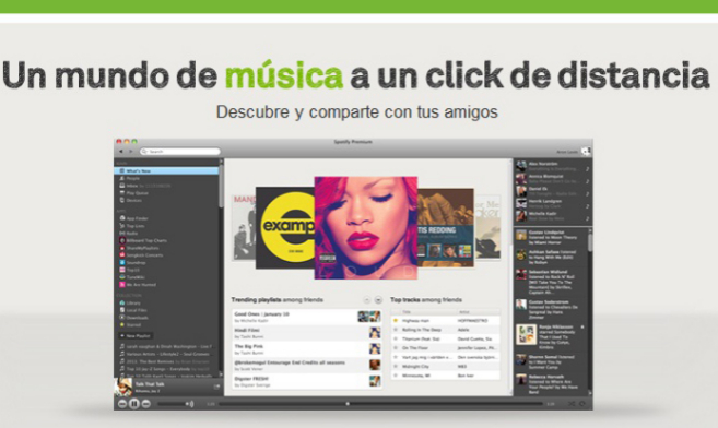 Vista de la plataforma de 'streaming' Spotify.