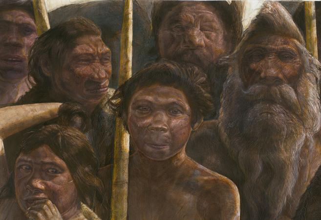 Recreación artística de un grupo de homínidos de Atapuerca.