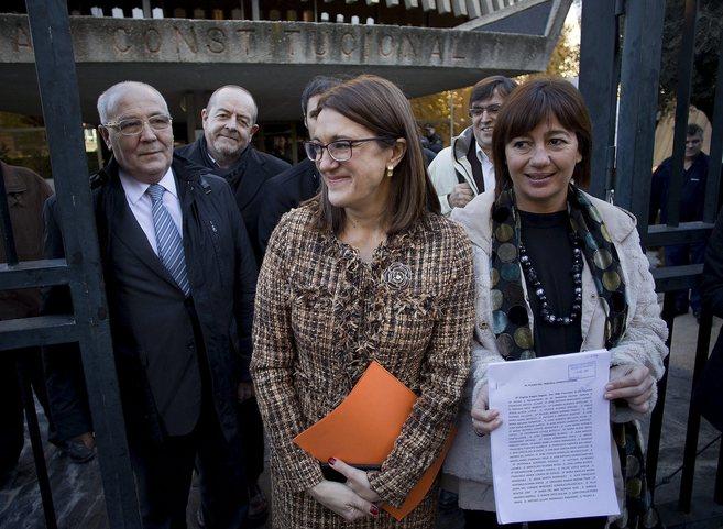 Dirigentes socialistas esta semana en el Tribunal Constitucional.