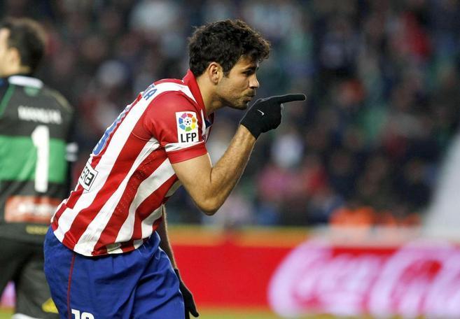 Diego Costa celebra un gol con el Atlético.
