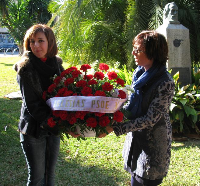 María Gámez en el acto homenaje a Pablo Iglesias, Málaga