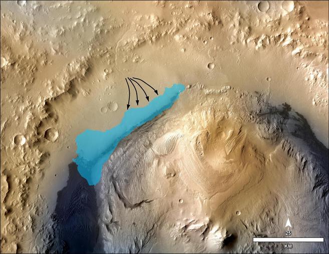 La ilustración muestra la posible extensión del lago en el Cráter...