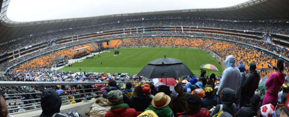 Imagen panorámica de la ceremonia de despedida de Mandela.