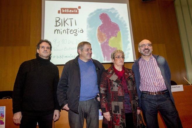 Txema Urkijo, Patxi Elola, Axun Lasa y Galo Bilbao durante el...
