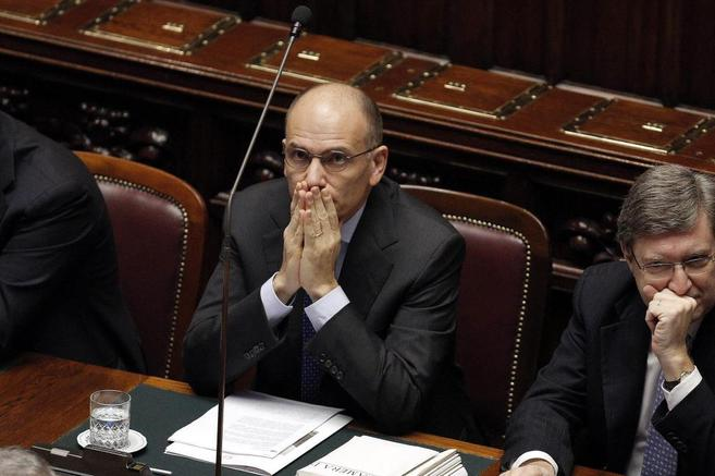 El primer ministro italiano, Enrico Letta, en el Parlamento.
