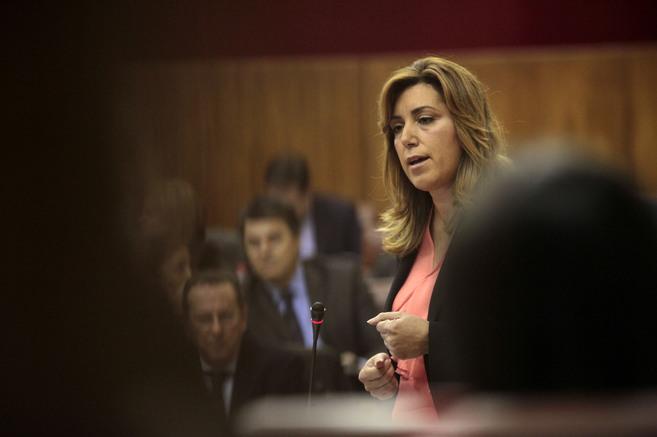 Susana Díaz, durante su intervención este jueves en el Parlamento de...