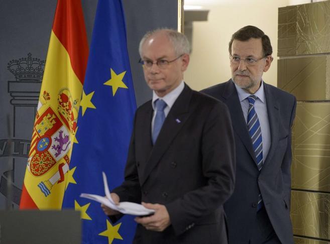 Herman van Rompuy, en La Moncloa con Rajoy.