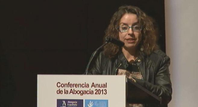 La periodista de EL MUNDO durante su discurso de agradecimiento.
