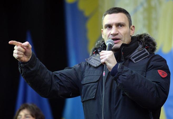 El líder opositor ucraniano Vitaly Klitschko, en la Plaza de la...