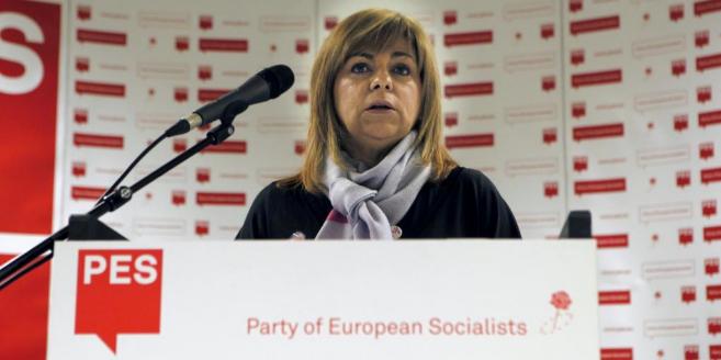 Elena Valenciano, durante la rueda de prensa que ofreció en Bruselas.