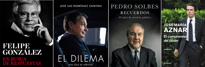 Portadas de las memorias de Felipe González, Rodríguez Zapatero,...