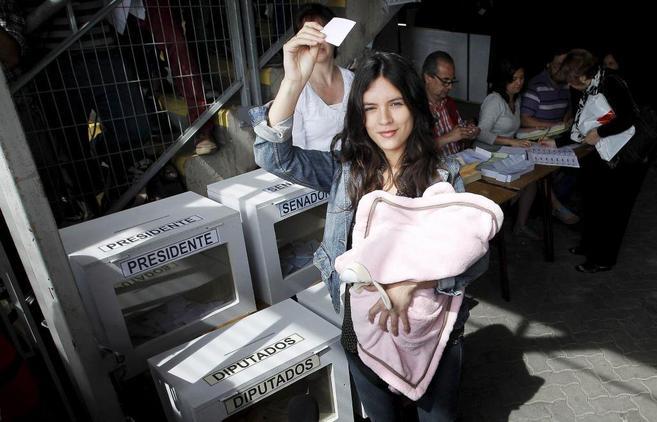 Camila Vallejo, votando en la primera ronda presidencial.