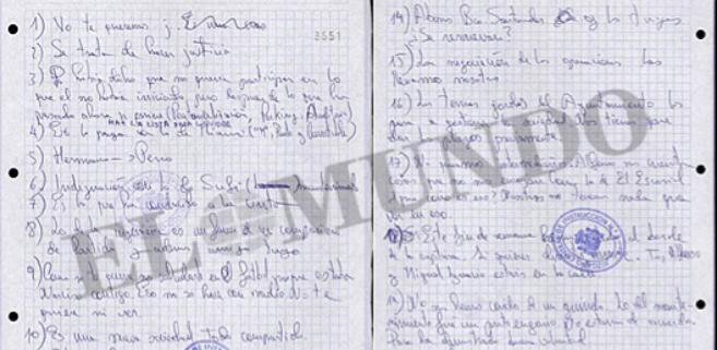 Fragmento de las anotaciones manuscritas que hizo la 'trama...