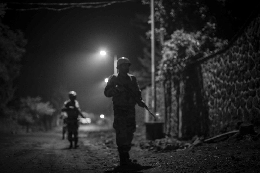 Imagen de la patrulla nocturna cerca de la universidad de Goma.