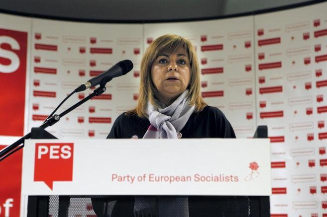 La vicesecretaria general del PSOE, Elena Valenciano, en rueda de...