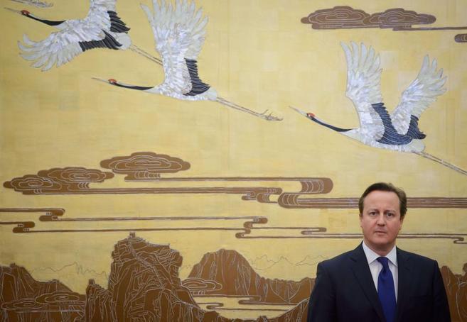 El primer ministro británico, David Cameron, durante una ceremonia en...
