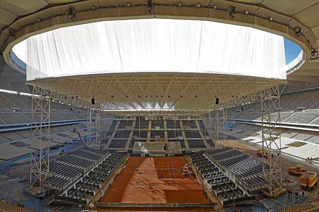 Instalación levantada en el interior del Estadio de La Cartuja con...