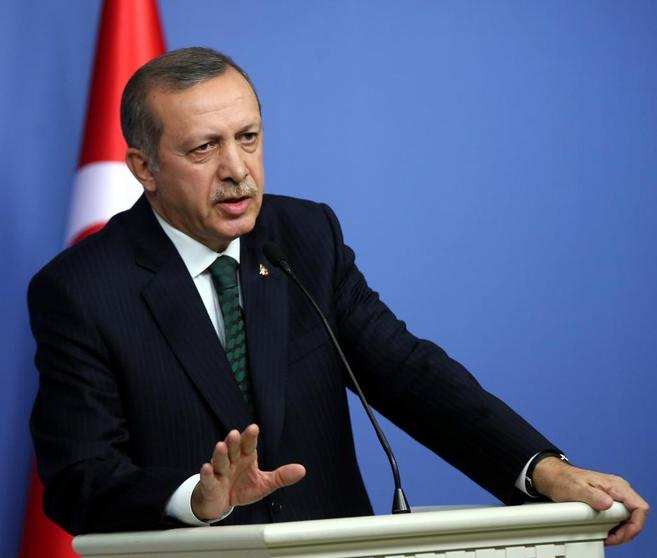 Turkish Prime Minister Recep Tayyip Erdogan gives a joint press...