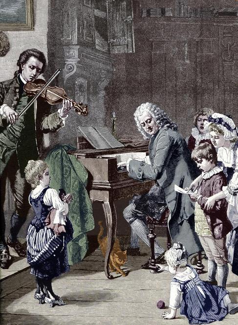 Grabado de Johann Sebastian Bach, tocando el clavicordio con sus...