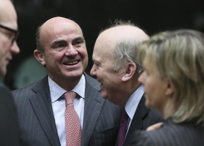 El ministro de Economía español, Luis de Guindos, en el Ecofin...